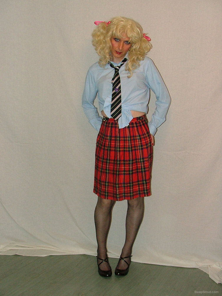 Even more pics of me stripping from my school uniform tranny