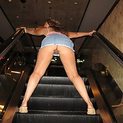 Escalator upskirt pussy flash and toy play on the sofa