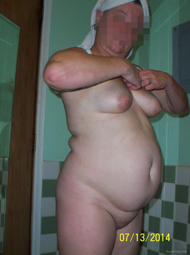 Big titties wife showering and showing off her BBW body