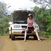 Nude wife broken down in the bush waiting for a man