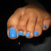 A few more of my sexy toes with blue polish on