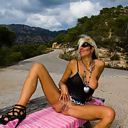 Bleached blonde exhibitionist mature wife exposure