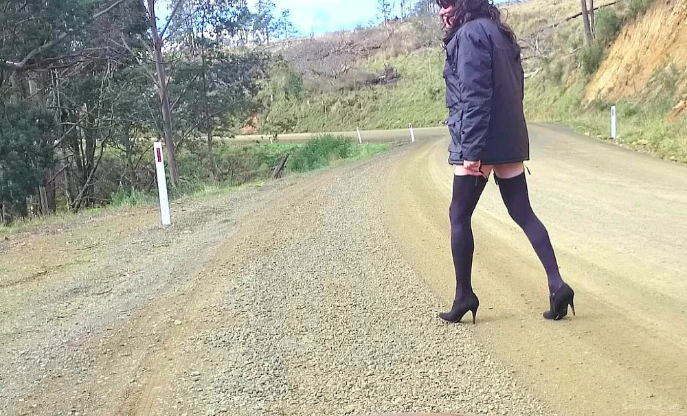 Cross dress walk - country road trip
