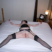 Mature brunette wife bed tied spread eagle