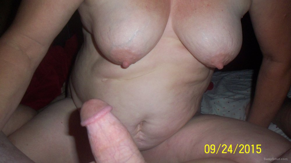 Big tittied mature wife jerking me off on to her tits