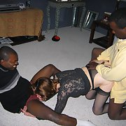 Cuckold mature wife threesome sex with two black strangers