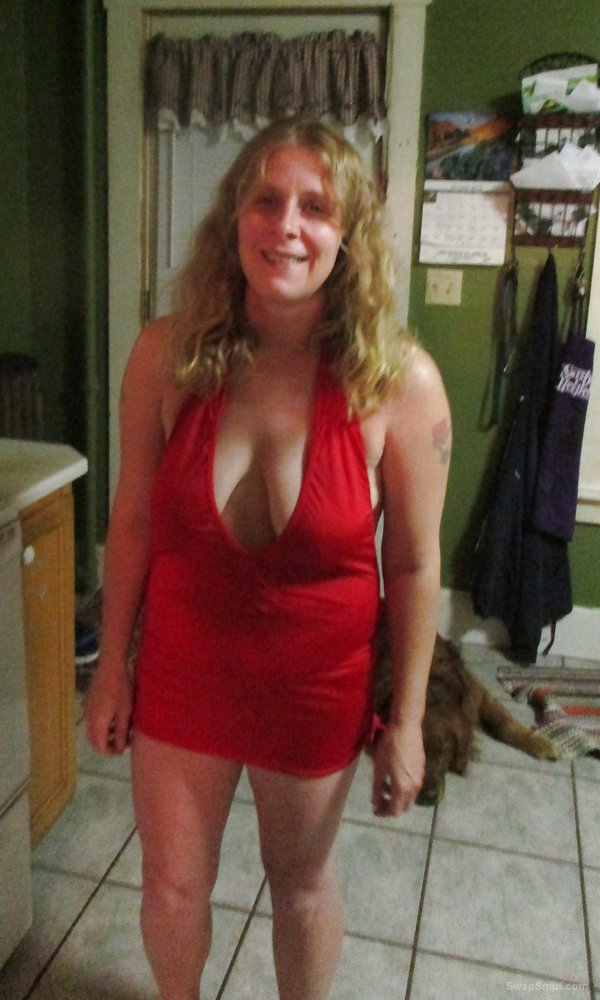 My little red dress never wear panties or bra