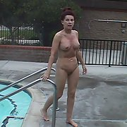 my slut Deb mature milf nude in public by the pool