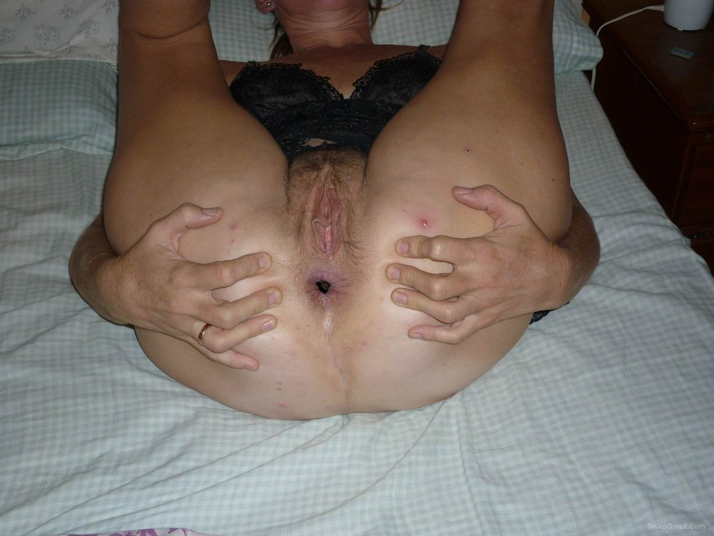 Slut wife butt and pussy gaping wide open for you to look at