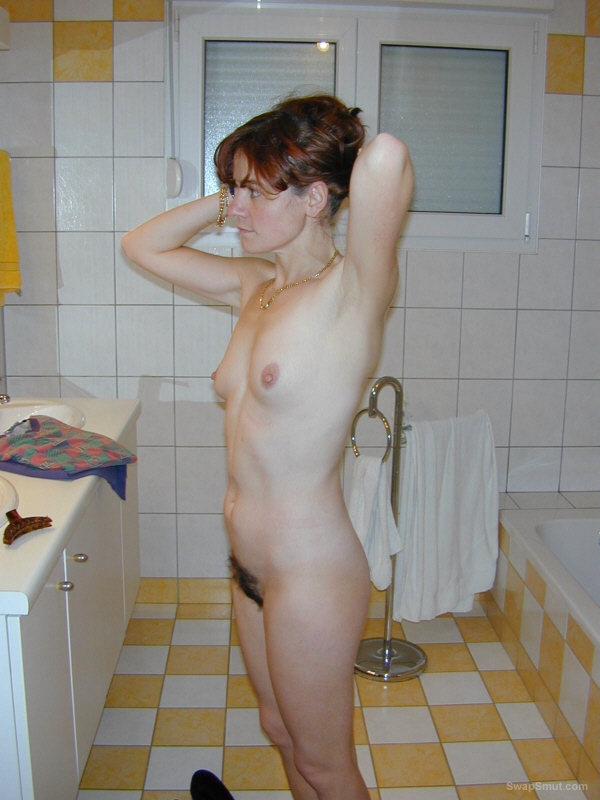Sexy Felicia ready for you all hairy wife naked in bathroom