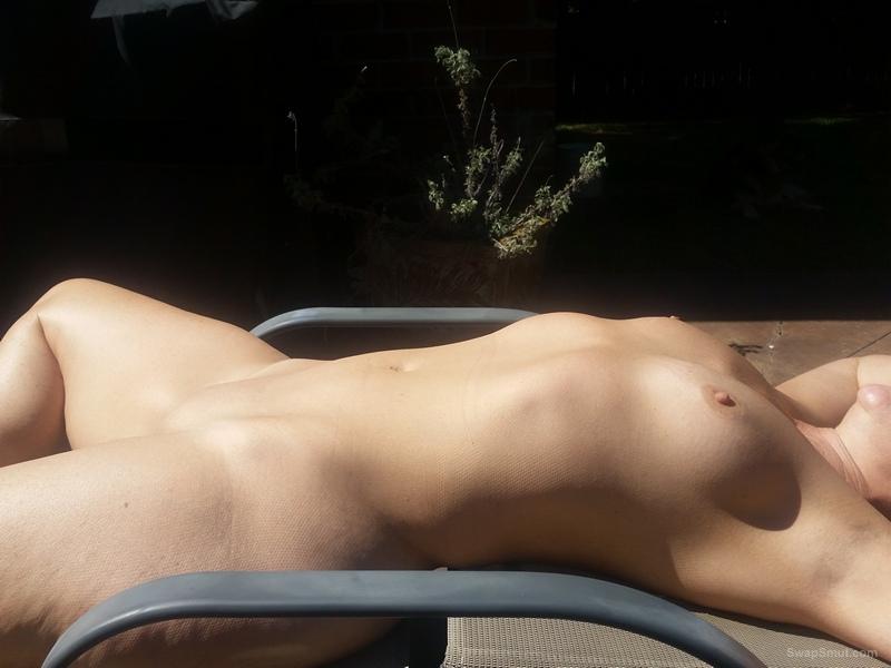 50YO neighbor MILF getting some sun on my patio