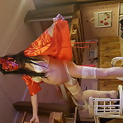 German Crossdresser in white and red Lingerie