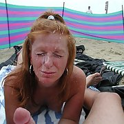 Nasty blonde mature splattered with spunk all over her face