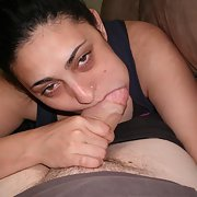 Mature wife bitch sucking on a big thick cock trying to take it all