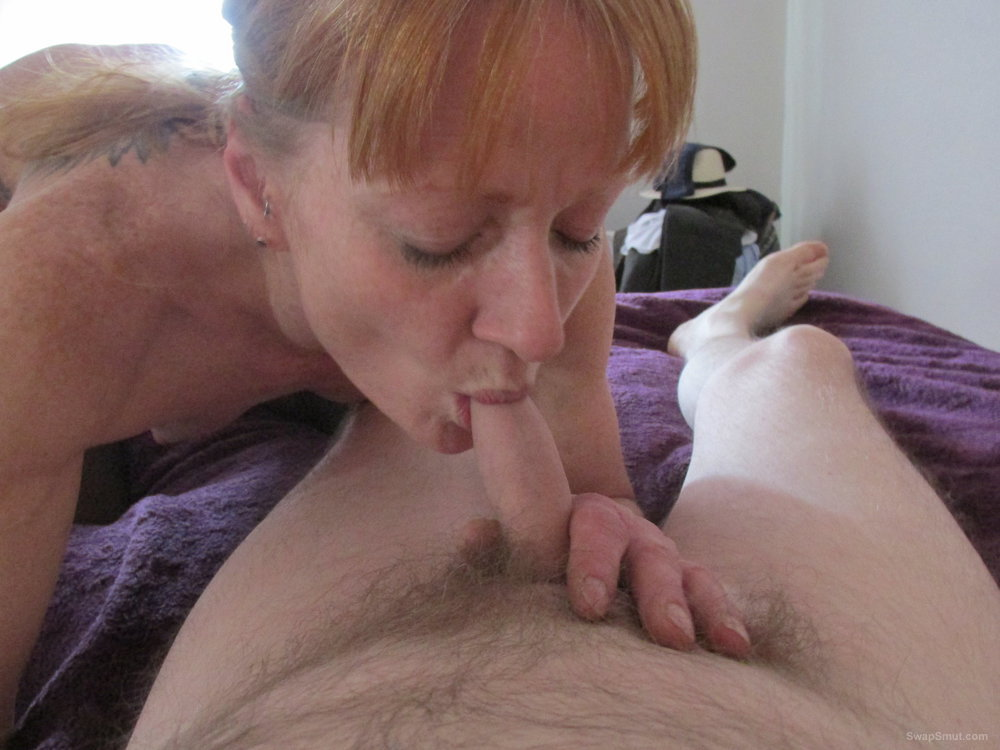 Mature slut enjoys a cock in her mouth.