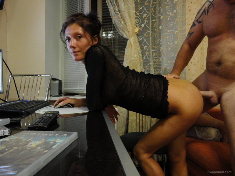 Horny woman getting penetrated deep at the computer and on the floor