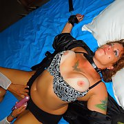 Slut tied up and fucked with dildo