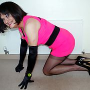 DENISE IN BLACK FF NYLONS AND 6 INCH HEELS