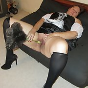 My new slutty french maid outfit bbw masturbating with feather duster