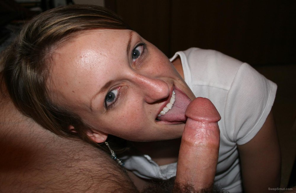 Very sexy and horny wife just loves sucking on thick cocks