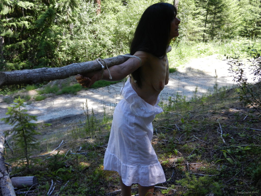 My slut Heather crucified and displayed outdoors in the woods