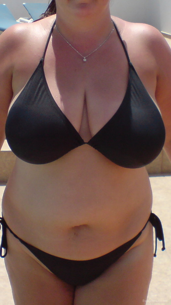 Beth on this years holidays in her small black bikini nice big tits