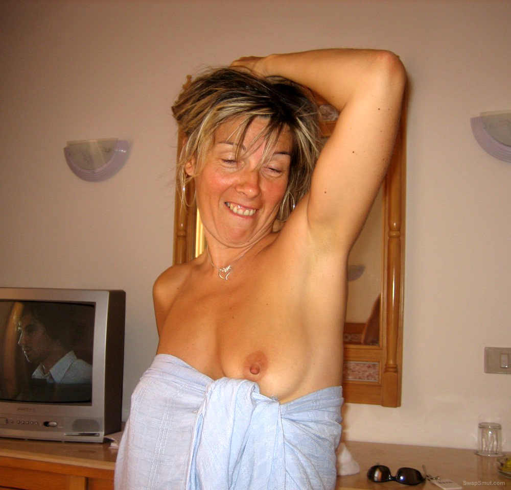 Wife Sylvie Wears a Blue Towel and Some Pretty Lingerie