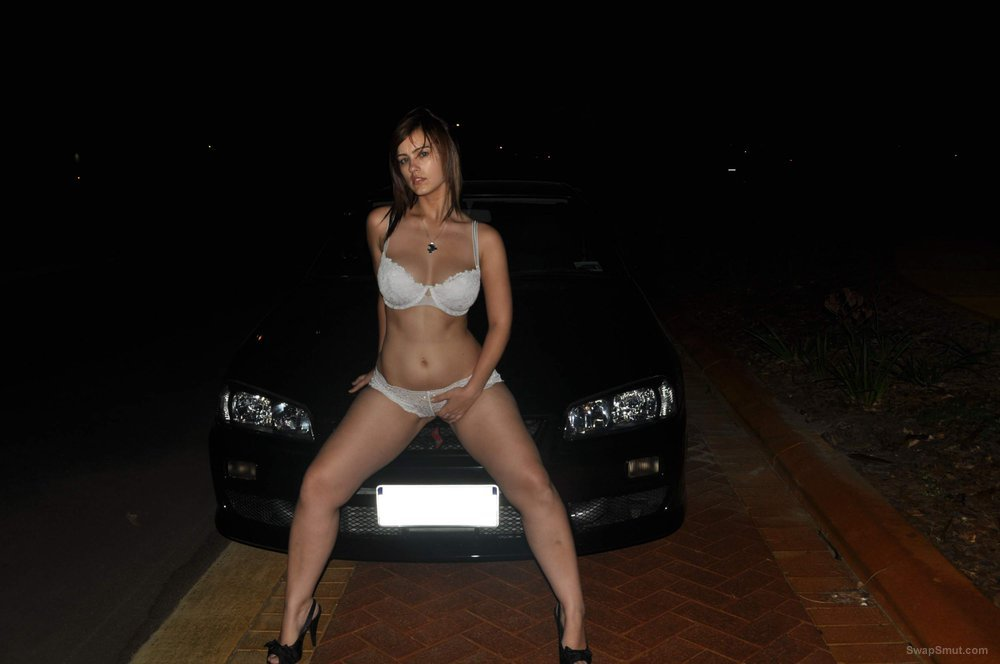 Busty wife night time outdoor photos