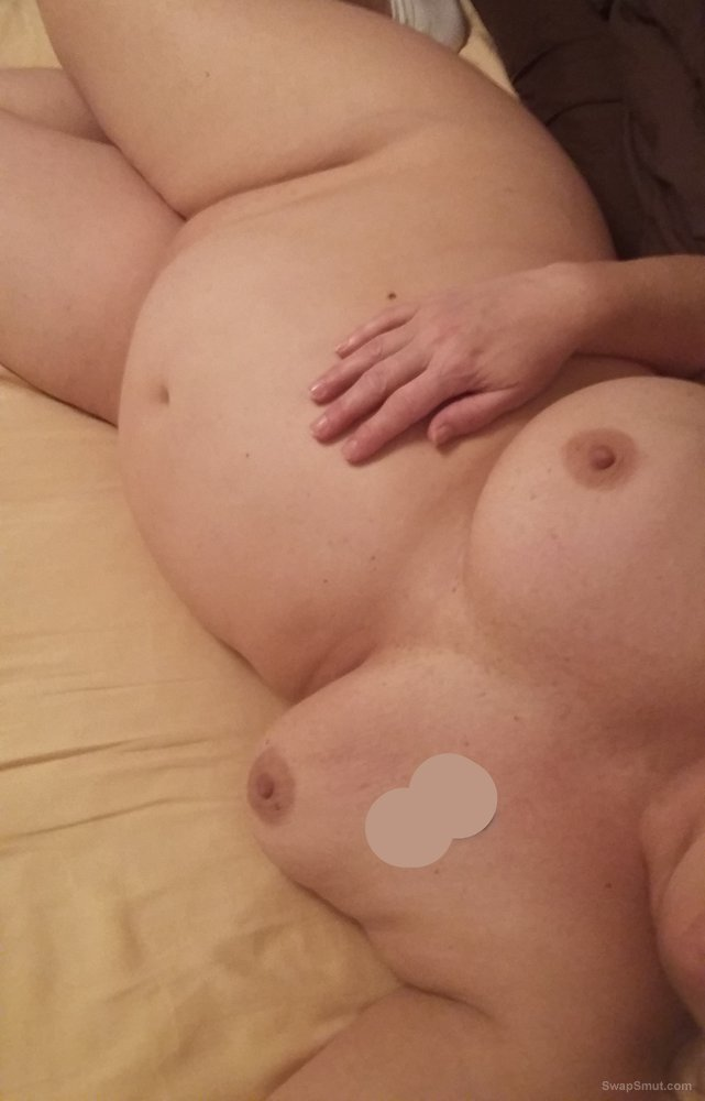 BBW wife shows her big tits, big belly and shaven wet pussy