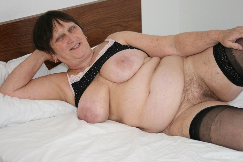 Roberta, just the neighborhood whore showing off her well used tits and pussy