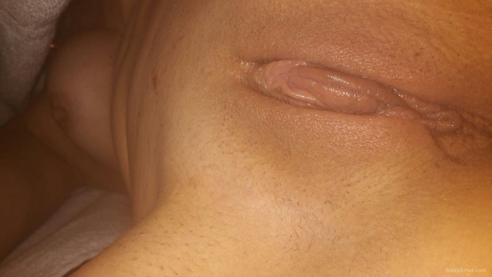 A few closeup pictures of my 40 year old wifes shaved, dripping wet pussy