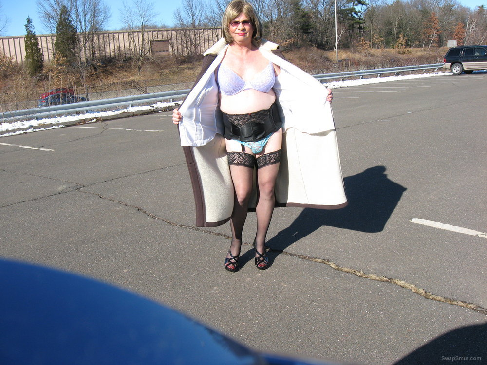 A little flashing and showing cross dressing public lingerie exhibit