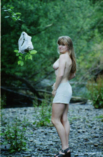 My mature wife goes wild when exploring deep in the woods