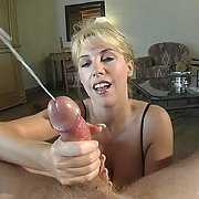 Cum Slut Wanks off her Man
