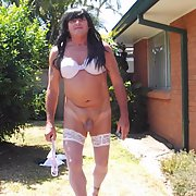 Sissy slut Becky I am a total sissy slut wearing lingerie outside
