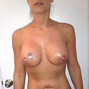 Before boob job she has great nipples, loves to have cum on them