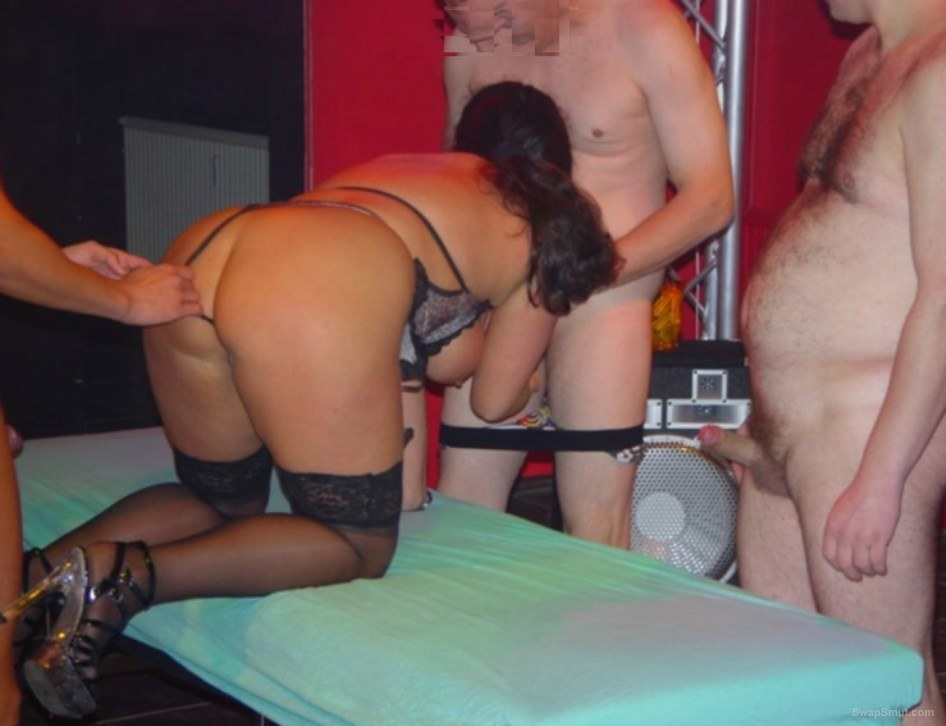 Phat ass wife getting used at a club group fuck