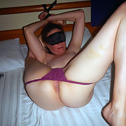 43 year old Shelly blindfolded and spanked