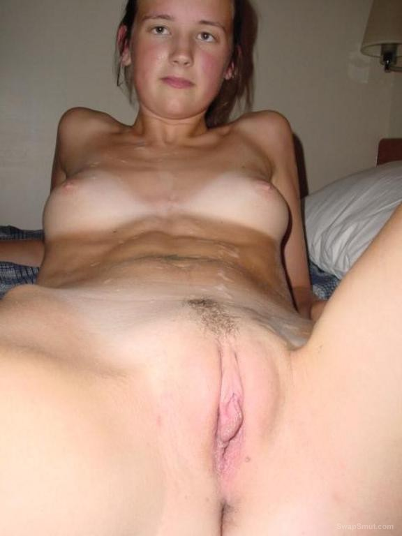 A real British cum slut have her share of hot sticky cum threesome