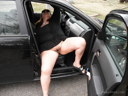 Busty slut wife at it again showing off her phat body at side of road