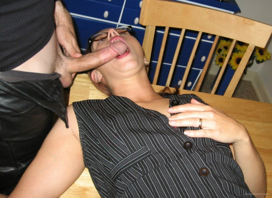 Wife bitch sucking dick and facialized with a lot of cum