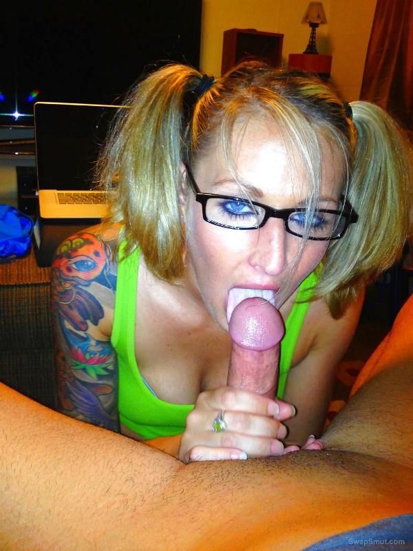 Blonde bitch sucking dick like a lollipop wanting it to release cum