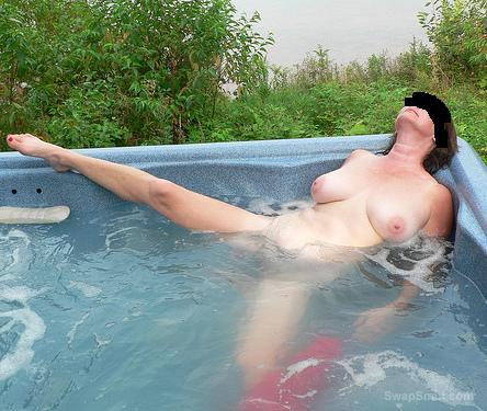Steamy Session In A Hot tub outdoors totally naked