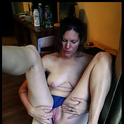 44 year old Shelly showing her pink pussy in a hotel room