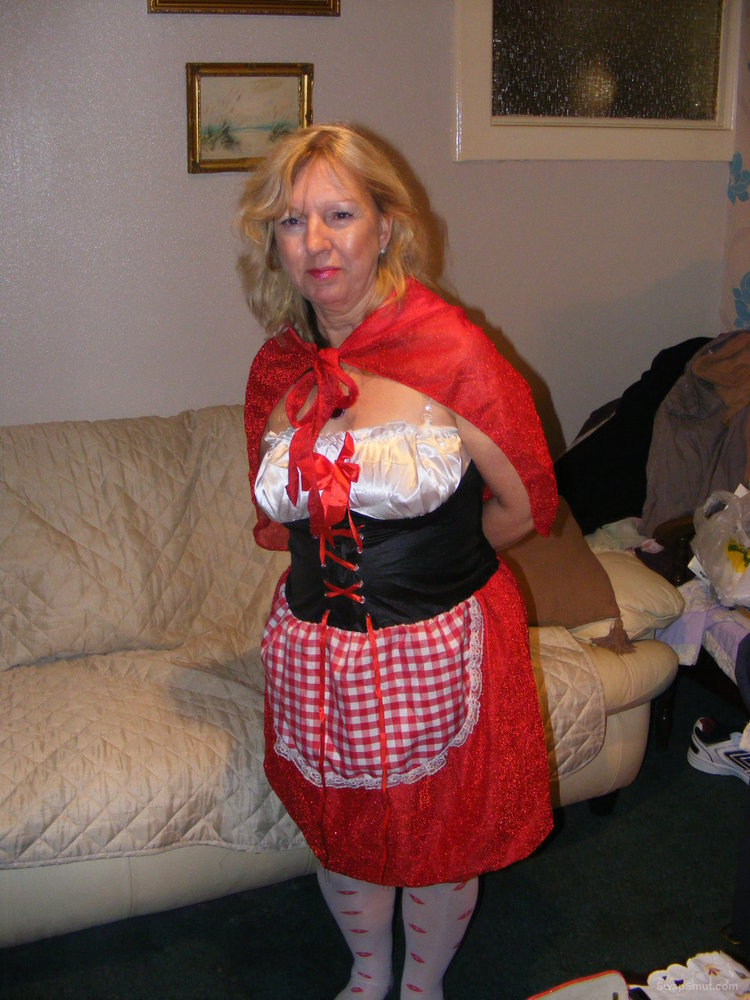 Liitle Red Riding Slut in a Hood first try of halloween costume