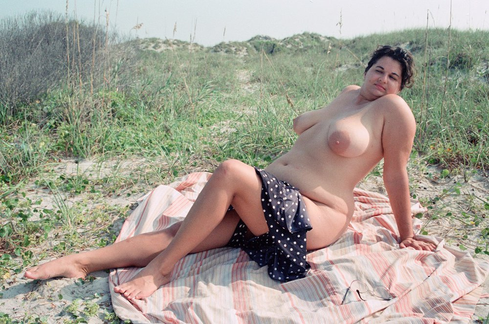 Nude wife outdoors
