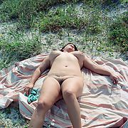 Slut Wife Nude in public on a beach camping outdoors naked for all to see