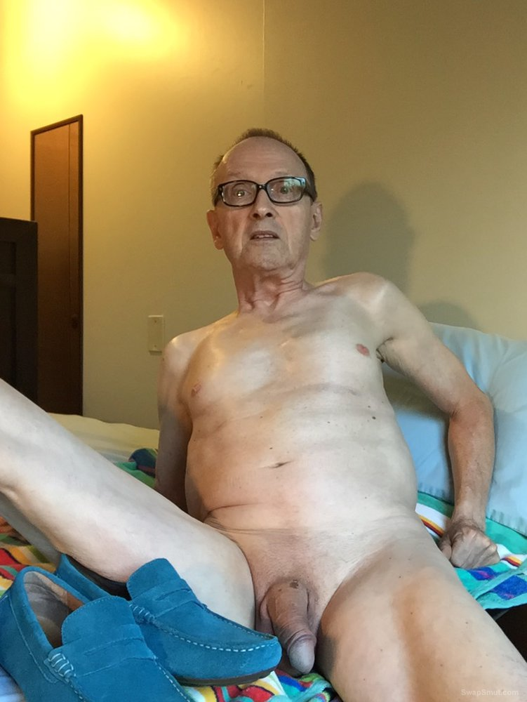 Exposed Faggot Pervert Slut Admires Blue Suede Shoes While Naked