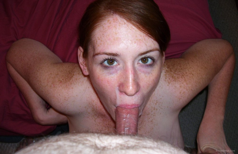 Pregnant red head wife giving head receiving creamy cum shot facial