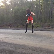 Cross dress walk - country road